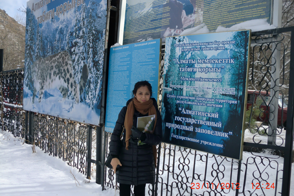 Aziza Akhatova, visiting the Almaty State Nature Reserve in November 2012 as part of a project inception workshop.