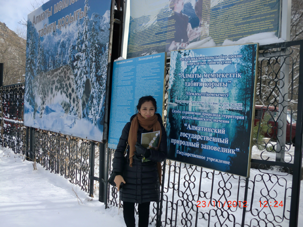 Aziza Akhatova on a visit to the Almaty State Nature Reserve in November 2012 as part of the project inception workshop.