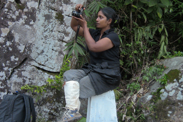 Chaya Sarathchandra, during field work at the Knuckles Mountain range of the central hills, Sri Lanka.