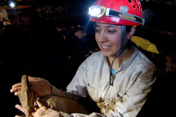 The Yucatan territory is characterized by the presence of caves. Since pre-Hispanic, the Mayan culture has used these places for ritual purposes. Mariana Rodriquez is holding an arrowhead found during a cave exploration.