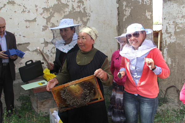 Mirgul Amanalieva, during a practical session on beekeeping training for representatives of the local community in Kyrgyzstan.