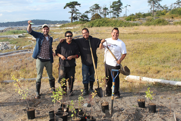 Thiago Gomes, transplanting some island-grown heritage plum saplings with Lekwungen George brothers in Chatham Islands.