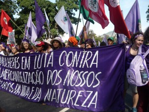 Women's march at the People's Summit held in parallel to the Rio +20 Earth Summit in Rio de Janeiro, 2012.