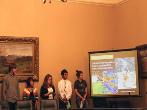 Students from my climate action studio talking to California policy makers at the State Capitol regarding their recommendations for Oakland's climate action plan.