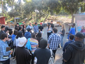 My students conducting field work at a climate adaptation project - community garden in San Francisco.