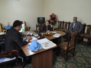 Interviewing Tajik local officials on a topic of transboundary conflict over pasture resources between Tajikistan and Kyrgyzstan.