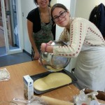 Making cornbread for a feast hosted by the Native Students Union at the University of Victoria.