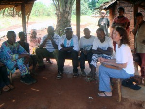 Carrying out community interviews in a Baka village in Cameroon.