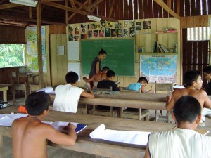 Teaching in a Matis school in Vale do Javari, Brazil.
