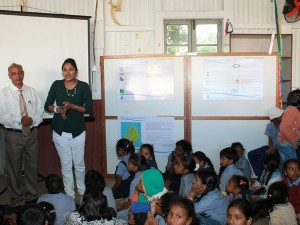 Educating primary school children on the Reduce-Reuse-Recycle concept.