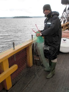 Fishing during an environmental research project at the Baltic Sea, Sweden.