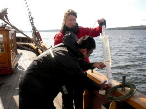 Water sampling during an environmental research project at the Baltic Sea, Sweden.
