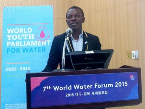 "Delivering a presentation titled ""Water for our Future"" during the 3rd World Youth Parliament for Water (WYPW), held under the framework of the 7th World Water Forum, 4-17 April 2015 in Daegu, South Korea."