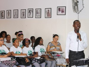 "Giving a speech on ""Youth participation in sustainable development processes"" at the Plant for the Planet Academy, held on 24 October 2014 in Praia, Cape Verde."