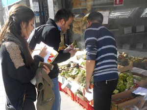 Carrying out an informal interview on ethnic food plants in Fondo's specialized ethnic stores.