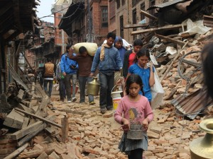 Unesco World Heritage Site Bhaktapur, in Nepal, soon after the earthquake.